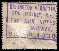 Lot 26:Great Britain - Dealer: very fine violet boxed 'ERRINGTON & MARTIN/STH. HACKNEY N.E./TRY OUR NOTED/STAMP