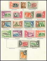 Lot 3518:1954-62 QEII Pictorials SG #140-58 complete set, ex 48c deep brown & violet, Cat £80. (18)