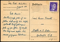 Lot 3619 [2 of 2]:1942 (Nov & Dec) use of 2 different postcards with 6pf Hitler adhesives, from Munich to Halle, same correspondence.
