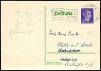 Lot 3619 [1 of 2]:1942 (Nov & Dec) use of 2 different postcards with 6pf Hitler adhesives, from Munich to Halle, same correspondence.