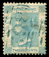 Lot 3622:1862-63 QV No Wmk SG #3 12c pale greenish blue, small tear at left, Cat £60.