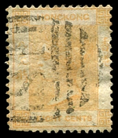 Lot 3628:1863-71 Wmk Crown/CC Perf 14 SG #11 8c pale dull orange, small faults, 'S1' cancel of Shanghai, Cat £19 for used in Shanghai