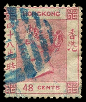 Lot 23606:1863-71 Wmk Crown/CC Perf 14 SG #17a 48c pale rose, part blue 'S1' cancel of Shanghai, Cat £70 for use in Hong Kong
