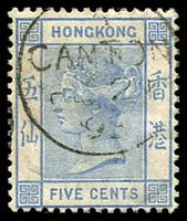 Lot 23626:1882-96 Wmk Crown/CA SG #35 5c pale blue, 1895 Canton cds