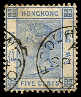 Lot 3654:1882-96 Wmk Crown/CA SG #35 5c pale blue, 1892 Foochowfoo cds
