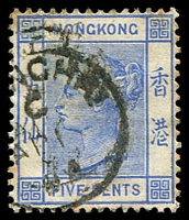 Lot 23627:1882-96 Wmk Crown/CA SG #35a 5c blue, 1894 Shanghai cds
