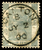 Lot 3653:1882-96 Wmk Crown/CA SG #34 4c slate-grey, 1900 Canton cds