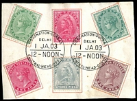 Lot 3760:1903 Coronation Durbar At Delhi QV 3p x2, ½a x2 & 1a x2 (both sets of colours) on piece with perfect cancels