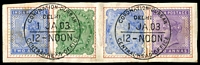 Lot 3761:1903 Coronation Durbar At Delhi QV 2a blue, 2a6p green, 2a6p blue & 2a violet on piece with perfect cancels