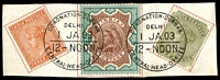 Lot 3763:1903 Coronation Durbar At Delhi QV 3a, 3r & 4a on piece with perfect cancels