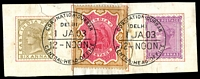 Lot 3764:1903 Coronation Durbar At Delhi QV 6a, 2r & 8a on piece with perfect cancels