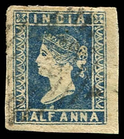 Lot 3745:1854-55 SG #2 ½a blue Die I 4-margins, Cat £40.