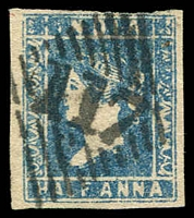 Lot 3780:1854-55 SG #2 ½a blue Die I 3½-margins, '117' cancel of Mandvee Cat £40.