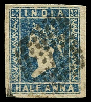 Lot 3982:1854-55 SG #2 ½a blue Die I 4-margins, Cat £40.