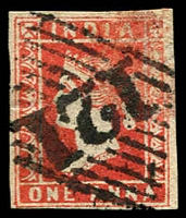 Lot 3746:1854-55 SG #12 1a red Die I 4-margins, '121' cancel of Sawuntwaree, Cat £80.