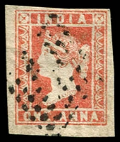 Lot 3748:1854-55 SG #14 1a dull red Die II 4-margins (one close), Cat £85.