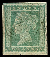 Lot 3749:1854 2 Annas SG #31 green 4-margins (thinned), Cat £50.