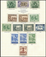 Lot 3854 [2 of 2]:1938-52 KGVI Pictorials SG #121-33a complete set incl extra perfs &/or shades of 2d, 6d, 5/- & 10/-. Plus 1945-48 Constitution set with extra perfs, Attractively mounted on page, Cat £160+. (36)