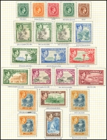 Lot 3854 [1 of 2]:1938-52 KGVI Pictorials SG #121-33a complete set incl extra perfs &/or shades of 2d, 6d, 5/- & 10/-. Plus 1945-48 Constitution set with extra perfs, Attractively mounted on page, Cat £160+. (36)