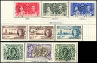 Lot 3855 [2 of 2]:1938-52 KGVI Pictorials SG #121-33a complete set incl extra perfs &/or shades of 2d, 6d, 5/- & 10/-, incl rare 5/- P14 (small faults - Cat £250). Plus Coronation & Victory. Attractively mounted on page, Cat £70+. (34)