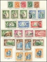 Lot 3855 [1 of 2]:1938-52 KGVI Pictorials SG #121-33a complete set incl extra perfs &/or shades of 2d, 6d, 5/- & 10/-, incl rare 5/- P14 (small faults - Cat £250). Plus Coronation & Victory. Attractively mounted on page, Cat £70+. (34)
