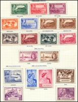 Lot 3984 [2 of 2]:1938-48 KGVI Pictorials SG #101a-10a,111-2 ½d to 5/- set of P14 issues, 10/- & £1. Plus all other 1937-49 KGVI issues, attractively mounted on pages, fresh mint, Cat £130. (24)