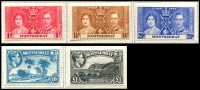 Lot 3984 [1 of 2]:1938-48 KGVI Pictorials SG #101a-10a,111-2 ½d to 5/- set of P14 issues, 10/- & £1. Plus all other 1937-49 KGVI issues, attractively mounted on pages, fresh mint, Cat £130. (24)