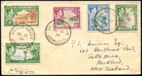 Lot 3986 [1 of 2]:1938-48 KGVI Pictorials SG #124-8 2d to 6d on plain FDC with double-circle 'CROSS ROADS/DE10/38/JAMAICA' cancel to NZ.