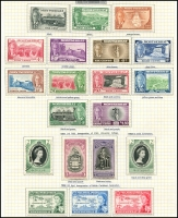 Lot 3985:1951 KGVI Pictorials SG #123-35 1c to $4.80. Plus Coronation, BWI Uni & Federation sets, attractively mounted on pages, fresh mint, Cat £65. (20)