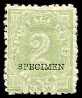 Lot 962:1891-1997 SG #D3fs 2d dull green P10 Wmk sideways optd 'SPECIMEN' (BW #ND13xa).