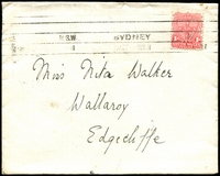 Lot 5726 [1 of 2]:1909 (Aug 27) use of 1d Arms on cover from Sydney to Edgecliff, with fine red 'State Government House, Sydney' seal and arms on flap. Appears to have contained an invitation.