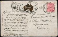 Lot 972:1909 (Apr 27) PPC from Hunter's Hill to France with very fine and rare boxed 'DEF 5/FINE 5}10 CENTIMES'.