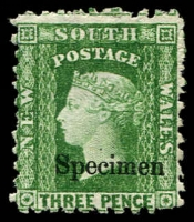 Lot 949:1882-97 Wmk 2nd Crown/NSW SG #226bs 3d yellow-green P10 Wmk sideways optd 'Specimen', Cat £27.