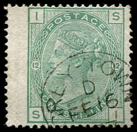 Lot 4479:1865-82 GB Used in Graytown SG #Z16 1/- green Pl 12 wing-margin wmk Spray, nice 1877 cancel, Cat £65.