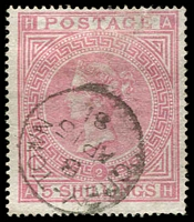 Lot 4480:1865-82 GB Used in Graytown SG #Z21 5/- pale rose Pl 2 wmk Maltese Cross, good 1881 cancel, Cat £550.