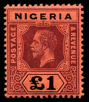 Lot 4026:1914-29 KGV Wmk Multi Crown/CA SG #12 £1 deep purple & black/red Die I, Cat £190.