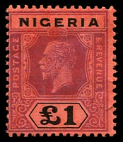 Lot 4027:1914-29 KGV Wmk Multi Crown/CA SG #12ba £1 purple & black/red Die II, closed tear, MNG, Cat £225.