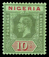 Lot 4025:1914-29 KGV Wmk Multi Crown/CA SG #11d 10/- green & red/emerald (emerald back) Die I, Cat £35.