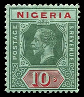 Lot 4024:1914-29 KGV Wmk Multi Crown/CA SG #11 10/- green & red/blue-green (white back) Die I, Cat £50.