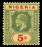 Lot 4022:1914-29 KGV Wmk Multi Crown/CA SG #10 5/- green & red/yellow (white back), Cat £25.