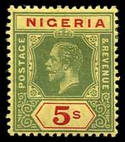 Lot 4023:1914-29 KGV Wmk Multi Crown/CA SG #10a 5/- green & red/yellow (lemon back), hinge rem, Cat £21.