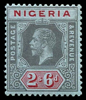 Lot 4021:1914-29 KGV Wmk Multi Crown/CA SG #9 2/6d black & red/blue, Cat £17.