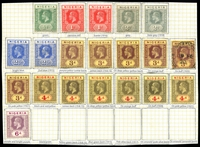 Lot 4019:1914-29 KGV Wmk Multi Crown/CA SG #1-7 ½d to 6d incl all shades and papers (3d on buff used), Cat £237. (20)
