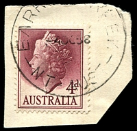 Lot 1019:Barrow Creek: - 'BARR[OW C]REEK/4OC58/NT-AUST' on 4d claret QEII on piece. Very early.  TO c.1909; PO 30/3/1915; closed 31/12/1979.