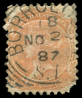 Lot 1022:Borroloola: - squared-circle 'BORROLO[OLA]/18/NO2/87/S_A' on 2d orange (corner fault). [Rated 2R]  PO 1/9/1886.
