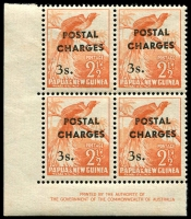 Lot 4312:1960 Surchages SG #D6 3/- on 2½d imprint block of 4, MUH, Cat £40++ as 4 singles. Rare as an imprint block.