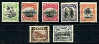 Lot 4082:1920 Pictorials No Wmk SG #32-7,39 set of 6, plus 1d wmk, Cat £27. (7)