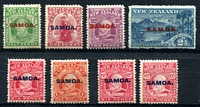 Lot 4122:1914-15 KEVII SG #115-21 complete set, plus extra 6d & 6d pale carmine, 1d rounded corner, Cat £32. (8)
