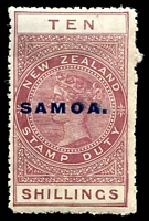 Lot 4124:1914-24 Postal Fiscals Optd Samoa Perf 14 SG #125 10/- maroon, usual fluffy perfs, Cat £40. Ex UPU distribution.