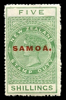 Lot 4123:1914-24 Postal Fiscals Optd Samoa Perf 14 SG #124 5/- yellow-green, usual fluffy perfs, Cat £24. Ex UPU distribution.